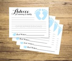 Baby Shower Advice Cards, Printable Blue Baby Footprints Advice for the Parents, Baby Boy Advice Cards, INSTANT DOWNLOAD