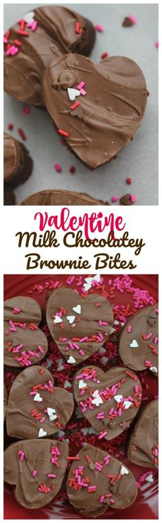 Valentine Milk Chocolatey Brownie Bites -  Sinfully, adorable Milk Chocolatey Brownie Bites topped with creamy Milk Chocolate because, it's almost Valentine's Day! #brownies #valentines day #milk chocolate #chocolate