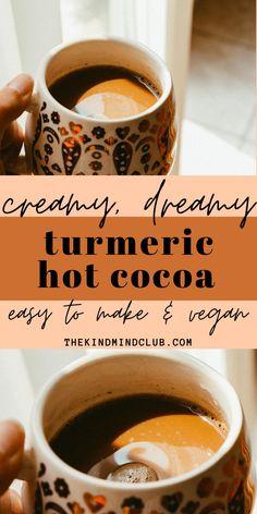 Hot Chocolate Recipe Cacao Powder, Vegan Hot Cocoa Recipe, Hot Chocolate Recipes, Healthy Hot Chocolate, Turmeric Drink, Turmeric Recipes, Anti Inflammatory Drink, Cocoa Powder Recipes, Cocoa Drink