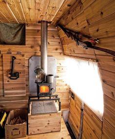 Nice wood stove setup in a van