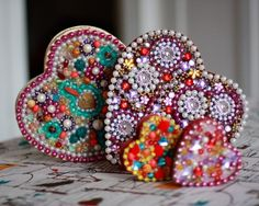 Beaded Heart Shaped Boxes TUTORIAL