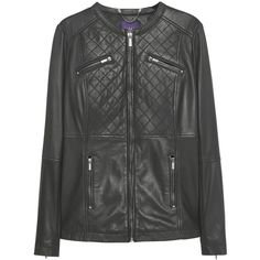 Violeta by Mango Stitched Leather Jacket, Black ($230) ❤ liked on Polyvore featuring outerwear, jackets, leather jacket, plus size leather jacket, womens plus size leather jackets, real leather jacket and long sleeve jacket