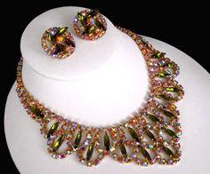 Sign Alice Caviness Olivine Pink AB Rhinestone Bib Stement Necklace Earrings | eBay
