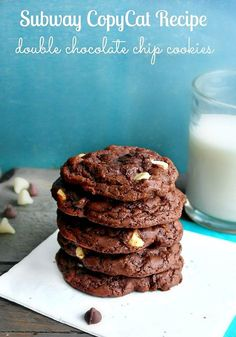 Subway Copycat Double Chocolate Chip Cookies Plus Shortcut Recipe My absolute favorite cookie ever is the double chocolate chip cookie from Subway