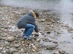 raccolta di campioni in riva al fiume