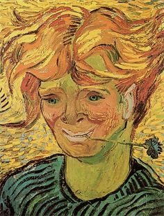 Vincent van Gogh: Young Man   with Cornflower, 1890