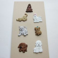 Set of Dog Buttons.  Seven Different Dog Buttons 1990's. Three Snap Together Dog Buttons.Cute Realistic Plastic Dog Button Set  B 441 by OneWomanRepurposed on Etsy