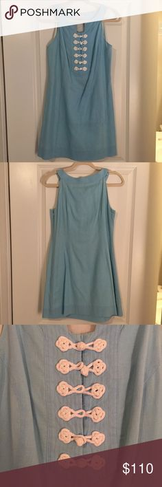 Light Blue Lilly Pulitzer Dress w/ Knotted Front Rock an upcoming summer barbecue, bridal shower, or birthday party with this super cute Lilly dress! Only worn a few times and is very well kept. ☀️ Lilly Pulitzer Dresses Mini
