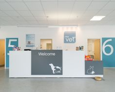 Reception desk & signage.