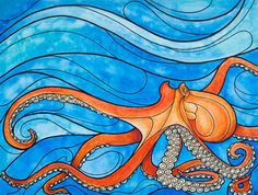 """Limited edition archival print, """"Mobilis in Mobile"""" octopus painting - 11""""x14"""" surf art beach decor"""