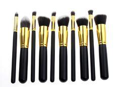 10 pçs/set ouro Synthetic Kabuki maquiagem escova cosméticos fundação mistura ferramenta de blush maquiagem alishoppbrasil