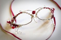 Wire Masquerade Mask Red and Silver by ShealynnsFaerie on Etsy