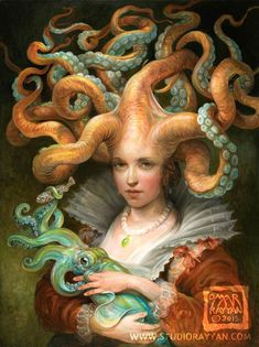 Contessa with Squid (print) fantasy art octopus woman squid tentacles mother and child - century octopus contessa dressed in her finest dish clothes, with her beloved squid. Art And Illustration, Fantasy Kunst, Fantasy Art, Omar Rayyan, Cross Paintings, Creatures, Opera, Squid Tentacles, Court Attire