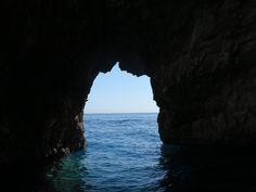 Beautiful view blue caves Zante