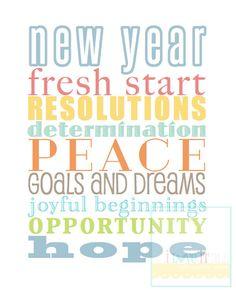 New Years Resolutions . Goals Dreams Subway Art . Happy New Year Seasonal Holiday Decoration . 8x10 // Red Aqua Green Turquoise Print Roll. $21.00, via Etsy.