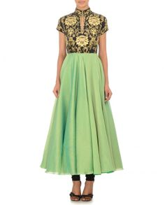Parrot Green Anarkali with Hand Paint