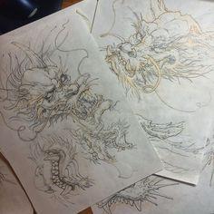 Ок, вообщем, голова дракона состоит и Chinese Dragon Art, Japanese Dragon, Japanese Tattoo Art, Japanese Tattoo Designs, Tattoo Sketches, Tattoo Drawings, Dragon Tattoo Drawing, Dragon Anatomy, C Tattoo
