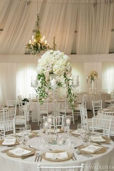 A snowy white summer Canada wedding that is definition of opulence and luxury. Take a look at the gorgeous photography shared by Mango Studios Wedding Table Centerpieces, Wedding Flower Arrangements, Flower Centerpieces, Reception Decorations, Centerpiece Ideas, Mod Wedding, Floral Wedding, Wedding Reception, Wedding Flowers