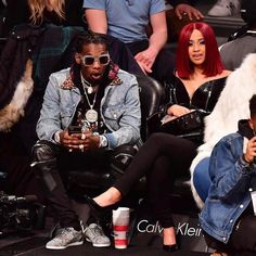 Migos' Offset with Cardi B Wears Gucci Jacket, Sneakers and Saint Laurent Jeans at Brooklyn Nets vs Knicks  |  UpscaleHype