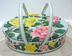 Shabby Chic Roses Design Biscuit Barrel Storage Canister Tin Enamel 1970s Floral Pink and Yellow