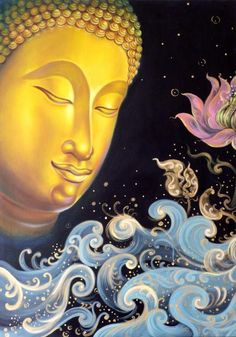 Buddha image from Buddha Blesses You. Buddha Buddhism, Buddhist Art, Buddhist Teachings, Becoming A Buddhist, Buddha Face, Buddhist Philosophy, Spiritual Warrior, Thai Art, Psychedelic Art