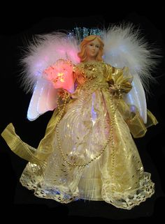 Lighted Fiber Optic Gold Angel with Bouquet Christmas ...