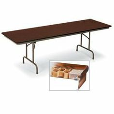 "KI Honeycomb Core Tables - Oak top/brown edge/brown frame by KI. $250.16. KI Folding Tables with Honeycomb Core are 30% lighter than solid top tables. One-piece welded channel steel apron and understructure are fastened to the top every 2"". .083"" thick burn- and mar-resistant high-pressure laminate top. Rounded corners and bull-nose vinyl edging all around. Double-welded ribbed construction. Side brace channel folds legs flush within apron bottom. Warp-resistant ..."
