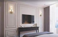 Moulding s ♡♡♡ Hotel Room Design, Luxury Bedroom Design, Home Interior Design, Apartment Interior, Living Room Interior, Living Room Decor, Bedroom Tv Wall, Home Decor Bedroom, Flur Design
