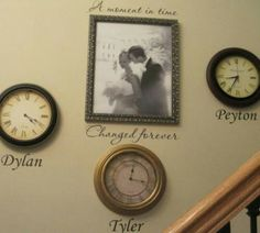 Time forever changed... In the center is your wedding photo all around it are clocks stopped on the times of your childrens birth. With wall art in their names! Love it!