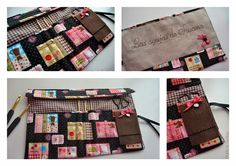 Funda acolchada con compartimentos para agujas de crochet, bolsillo para tijeras y pequeño guarda agujas.    Solapa para evitar que s... Bags, Scrappy Quilts, Slipcovers, Coin Purses, Pockets, Dressmaking, Atelier, Scissors, Handbags