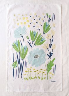 Illustrated handmade dishtowel. Original artwork by Lisa Rupp.    55% linen and 45% cotton  Machine wash warm or cool using phosphate-free