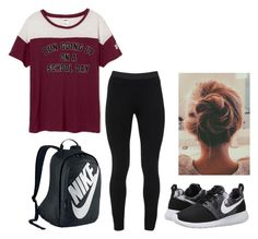 """""""Untitled #136"""" by karlynboo ❤ liked on Polyvore featuring Peace of Cloth, NIKE and schoolready"""