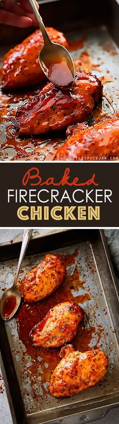 Baked Firecracker Chicken - A quick and easy weeknight dinner recipe! Learn how to make my dynamite firecracker sauce. Serve with rice!
