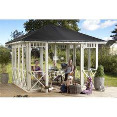 Plus Pavillon m/sort tagdug og lukket på 3½ side m/ornamenter