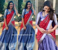 Niharika Konidela celebrated Pongal wearing a blue and red combination pattu half saree. She styled her look with silver jewellery, red lips and straight hair! Lehenga Saree Design, Half Saree Lehenga, Pattu Saree Blouse Designs, Half Saree Designs, Lehnga Dress, Lehenga Designs, Bridal Lehenga, Kids Blouse Designs, Bridal Blouse Designs