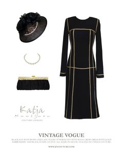 VINTAGE VOGUE- Black hat with roses and lace teams up perfectly with wool crepe dress with gold embroidery and suede clutch bag. All made in-house at Katja Nuutinen Couture. WWW.KNCOUTURE.COM