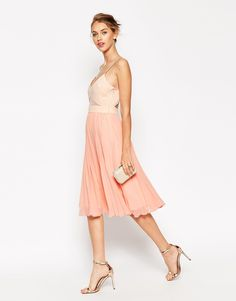 Image 1 ofASOS Sheer and Solid Pleated Midi Cami Dress