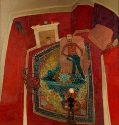'The Collector' by Anthony Green, 1965 (oil on hardboard) Green Paintings, Your Paintings, Anthony Green, Art Archive, Gcse Art, Art Uk, Naive Art, Green Life, Shades Of Red