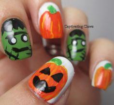 Frankenstein/Pumpkin Nails