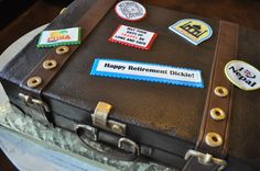 Happy Retirement! Suitcase Party Cake Sugar Bee Sweets Bakery www.sugarbeesweets.com Happy Retirement, Party Cakes, Suitcase, Bakery, Bee, Sweets, Sugar, Shower Cakes, Honey Bees