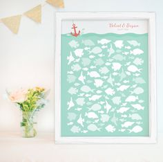 Leave your wish on a fish. Cute Nautical Fish Theme Guest Book Alternative!