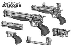 Kevin Duc - Borderlands 2 concept art - Jakobs    This gun looks very much like a classic revolver from the wild west. A big heavy handgun that would shoot powerfull bullets. However we can see that the barell is very long and the cartridge looks unusual. With the adition of the scope it definitely looks futuristic. (theverge, 2012)