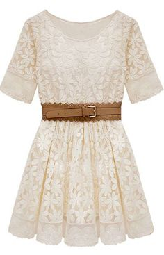 Embroidery Crochet Lace Hem Belt Dress.