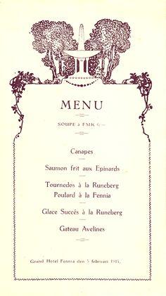 Grand Hotel Fennia menu 1914