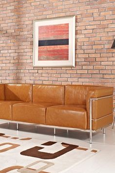 Le Corbusier LC3 Genuine Leather Sofa - Tan    Love everything about this!
