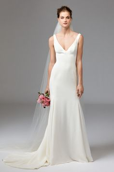 Leona Sleeveless Silk Gown by Watters Bridal features a plunging low back with zip enclosure. Plain Wedding Dress, How To Dress For A Wedding, Fit And Flare Wedding Dress, Luxury Wedding Dress, Wedding Dress Sizes, Perfect Wedding Dress, Wedding Suits, Bridal Dresses, Wedding Gowns