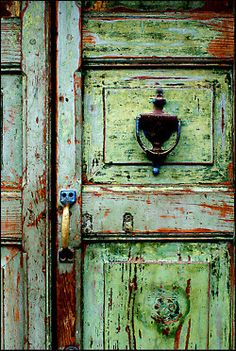 Weathered door--with greens and blues