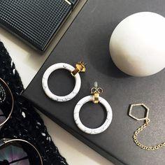 """Rachel Zoe Marble Hoops 12k gold plated metal and marbled resin hoops. 1.25"""" diameter. Brand new in box. Rachel Zoe Jewelry Earrings"""