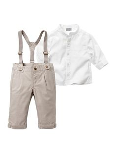 Baby Boy's Shirt & Trousers Outfit WHITE LIGHT SOLID - vertbaudet enfant