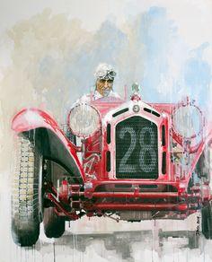 Nuvolari dans son #AlfaRomeo, peinture de l'artiste anglais Dan Gwinett. Toutes les infos sur News d'Anciennes : http://newsdanciennes.com/2015/02/14/morceaux-darts-du-samedi-dan-gwinett/